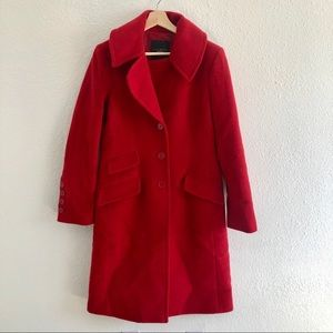 Talbots red size 6 pea coat jacket with pockets
